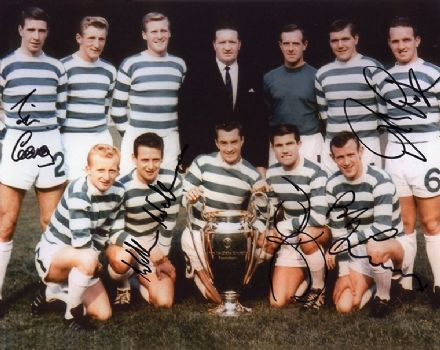Glasgow Celtic Lisbon Lions signed 10x8 inch photo.